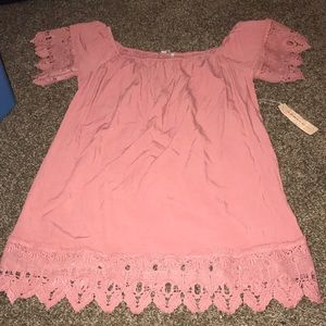 Xl pink rose off the shoulder lace dress NWT